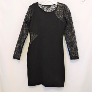 Metaphor Black Bodycon Dress with Lace Size S/M